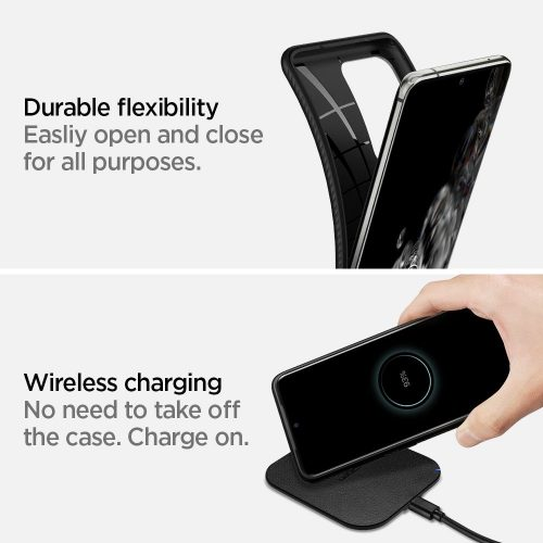 OnePlus 9 Pro, Szilikon tok, Spigen Liquid Air, háromszög minta, fekete