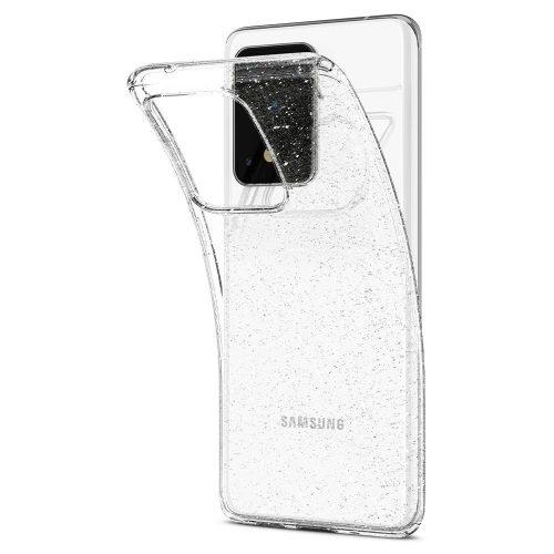 Samsung Galaxy S10 Lite SM-G770, Szilikon tok, Spigen Liquid Crystal Glitter, átlátszó