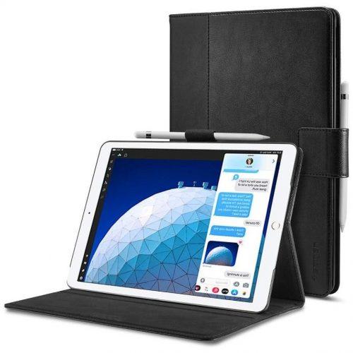 Apple iPad Pro 10.5 (2017) / iPad Air (2019), mappa tok, csatos, Spigen Stand Folio, fekete