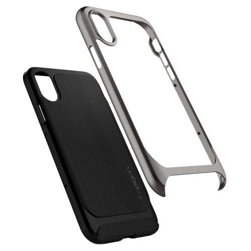 Samsung Galaxy S20 / S20 5G SM-G980 / G981, Szilikon tok, műanyag kerettel, Spigen Neo Hybrid, halszálka minta, sötétszürke