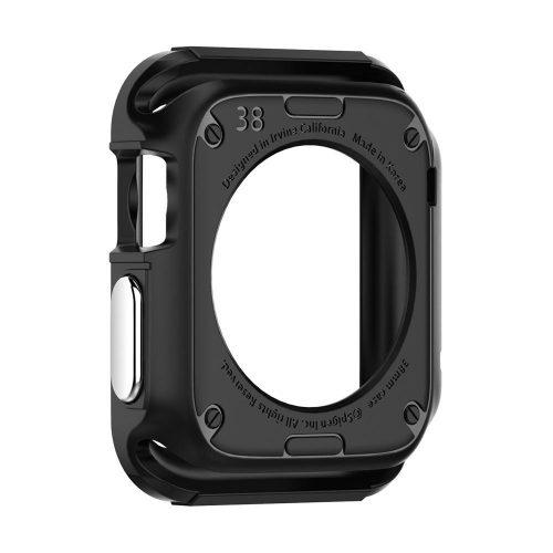 Apple Watch 1-3 (38mm), Szilikon védőkeret, ütésálló, szíj nélkül, Spigen Rugged Armor, fekete