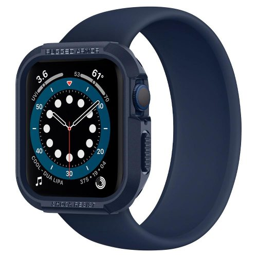 Apple Watch 4-6, SE (44mm), Szilikon védőkeret, ütésálló, szíj nélkül, Spigen Rugged Armor, sötétkék