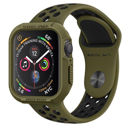 Apple Watch 4-6, SE (44mm), Szilikon védőkeret, ütésálló, szíj nélkül, Spigen Rugged Armor, zöld