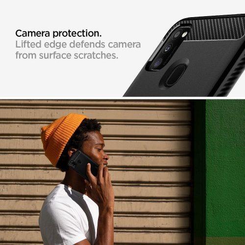 Google Pixel 4a 5G, Szilikon tok, Spigen Rugged Armor, karbon minta, fekete