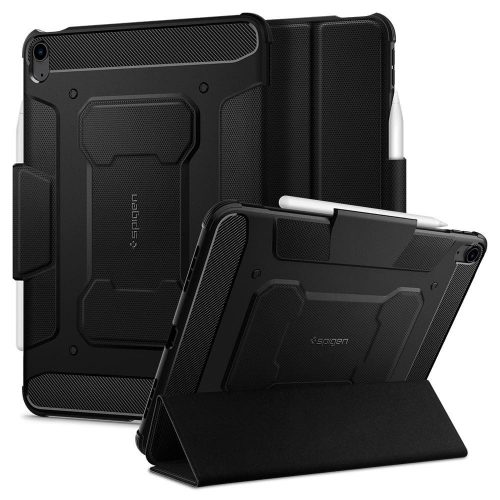 Apple iPad Air (2020), mappa tok, közepesen ütésálló, Apple Pencil tartóval, Spigen Rugged Armor, fekete