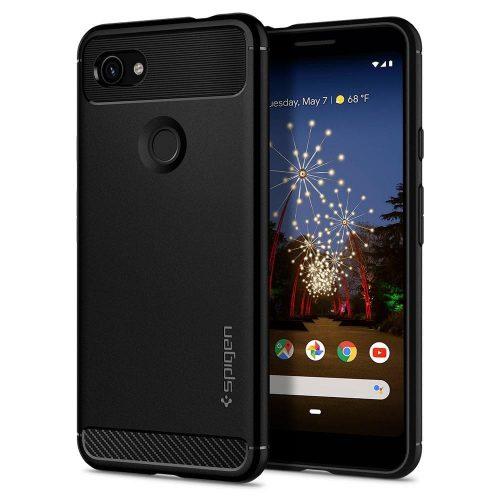 Google Pixel 3a, Szilikon tok, Spigen Rugged Armor, karbon minta, fekete