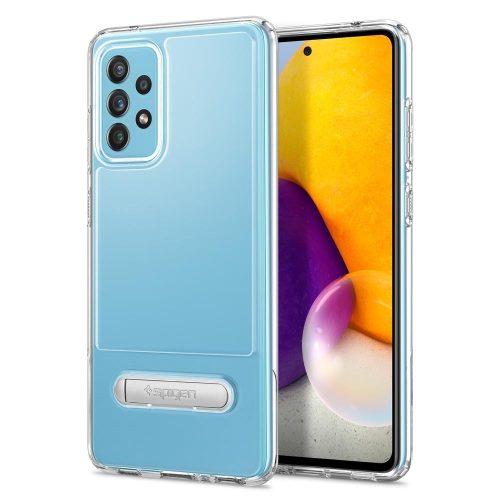 Samsung Galaxy A72 / A72 5G SM-A725F / A726B, Szilikon tok, műanyag hátlappal, kitámasztóval, Spigen Slim Armor Essential, átlátszó