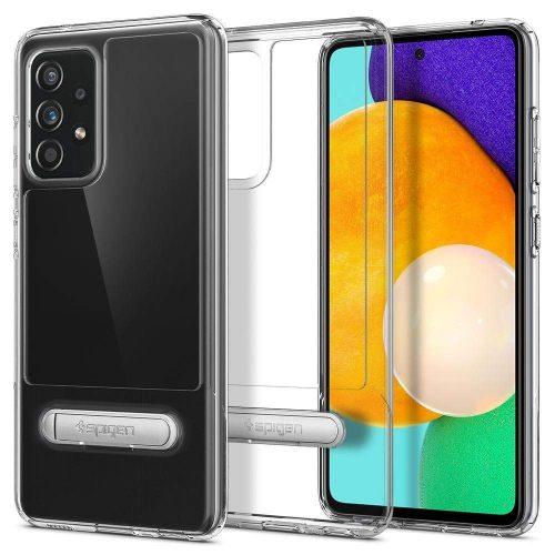 Samsung Galaxy A52 / A52 5G SM-A525F / A526B, Szilikon tok, műanyag hátlappal, kitámasztóval, Spigen Slim Armor Essential, átlátszó