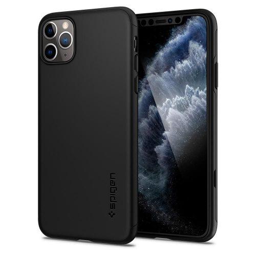 Apple iPhone 11 Pro Max, Műanyag hátlap védőtok (elő- és hátlapi) + Tempered Glass (edzett üveg), Spigen Thin Fit 360, fekete