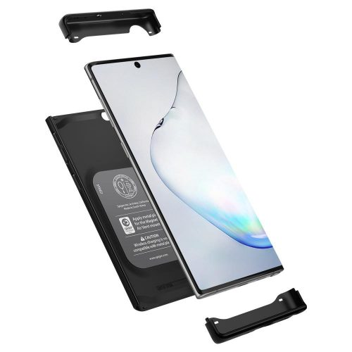 Samsung Galaxy Note 10 / 10 5G SM-N970 / N971, Műanyag hátlap védőtok, beépített fémlemez, mágneses, Spigen Thin Fit Classic, fekete