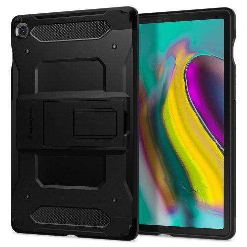 Samsung Galaxy Tab S5e 10.5 SM-T720 / T725, Szilikon tok + műanyag hátlap, kitámasztóval, Spigen Tough Armor Tech, fekete