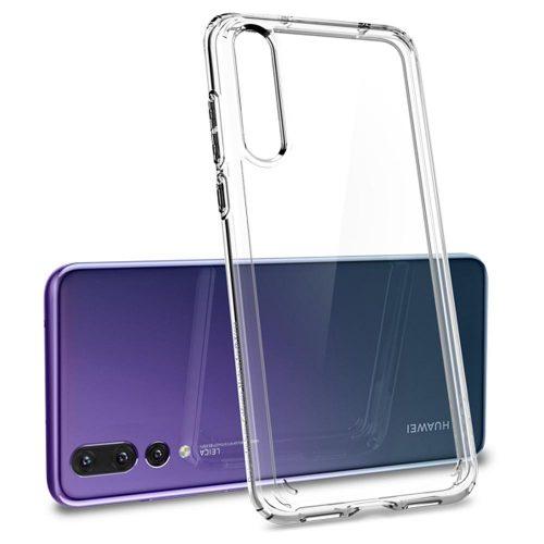 Huawei P20 Pro, Műanyag hátlap védőtok + szilikon keret, Spigen Ultra Hybrid, átlátszó