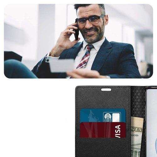 Samsung Galaxy Note 10 / 10 5G SM-N970 / N971, Oldalra nyíló tok, stand, Spigen Wallett S, fekete