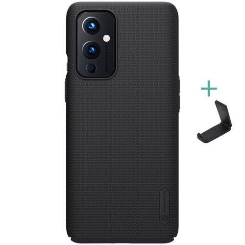 OnePlus 9, Műanyag hátlap védőtok, stand, Nillkin Super Frosted, fekete