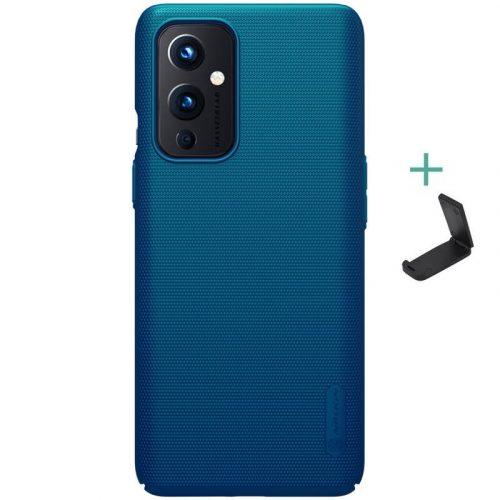 OnePlus 9, Műanyag hátlap védőtok, stand, Nillkin Super Frosted, zöldes-kék