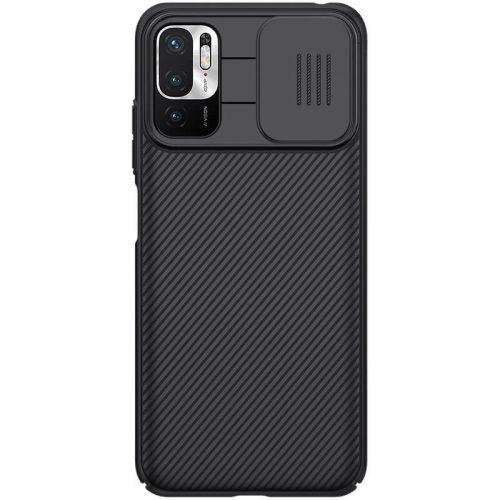 Xiaomi Redmi Note 10 5G, Műanyag hátlap védőtok, közepesen ütésálló, kameravédelem, csíkos minta, Nillkin CamShield, fekete