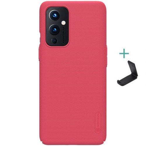 OnePlus 9, Műanyag hátlap védőtok, stand, Nillkin Super Frosted, piros
