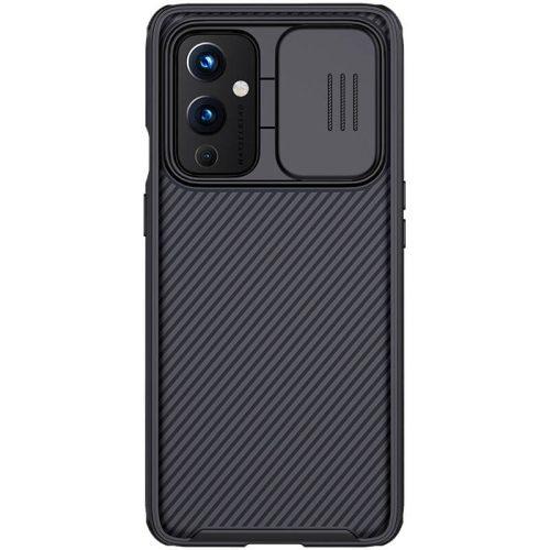 OnePlus 9, Műanyag hátlap + szilikon keret, közepesen ütésálló, kameravédelem, csíkos minta, Nillkin CamShield Pro, fekete