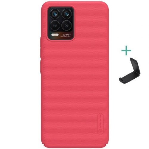 Realme 8 / 8 Pro, Műanyag hátlap védőtok, stand, Nillkin Super Frosted, piros