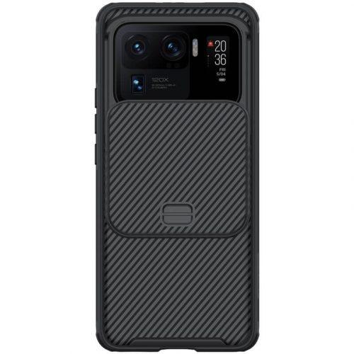 Xiaomi Mi 11 Ultra, Műanyag hátlap + szilikon keret, közepesen ütésálló, kameravédelem, csíkos minta, Nillkin CamShield Pro, fekete