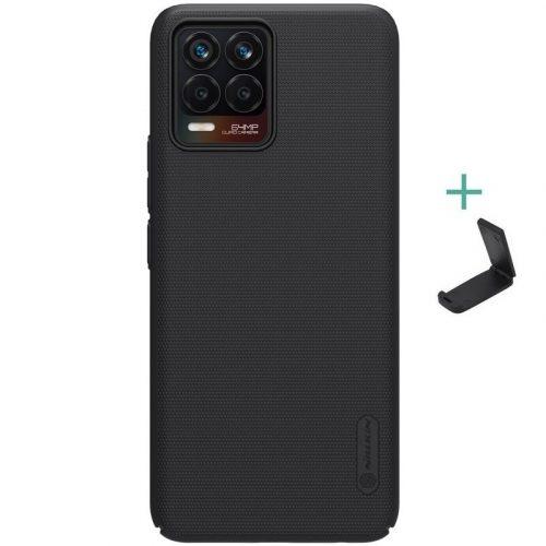 Realme 8 / 8 Pro, Műanyag hátlap védőtok, stand, Nillkin Super Frosted, fekete