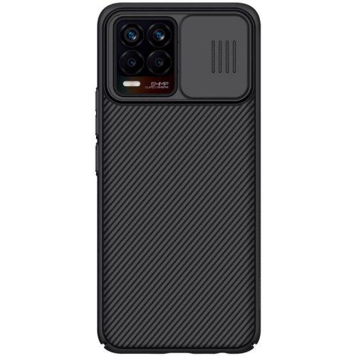 Realme 8 / 8 Pro, Műanyag hátlap védőtok, közepesen ütésálló, kameravédelem, csíkos minta, Nillkin CamShield, fekete