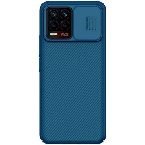 Realme 8 / 8 Pro, Műanyag hátlap védőtok, közepesen ütésálló, kameravédelem, csíkos minta, Nillkin CamShield, sötétkék