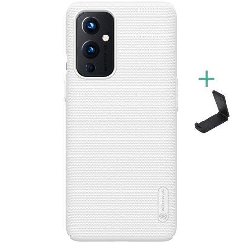OnePlus 9, Műanyag hátlap védőtok, stand, Nillkin Super Frosted, fehér
