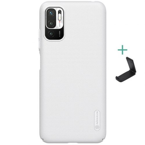 Xiaomi Redmi Note 10 5G, Műanyag hátlap védőtok, stand, Nillkin Super Frosted, fehér