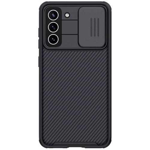 Samsung Galaxy S21 FE 5G SM-G990, Műanyag hátlap + szilikon keret, közepesen ütésálló, kameravédelem, csíkos minta, Nillkin CamShield Pro, fekete