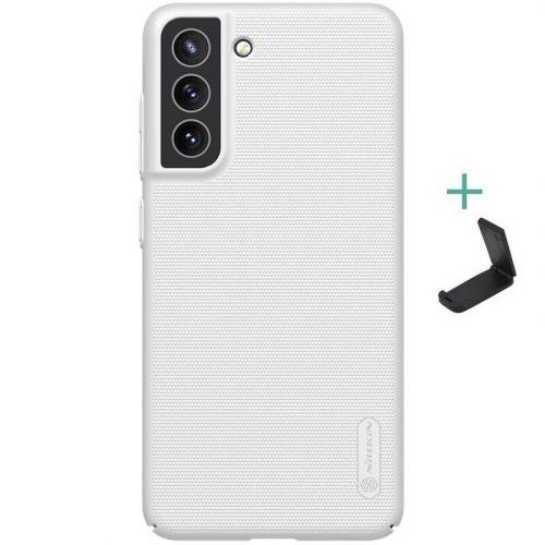 Samsung Galaxy S21 FE 5G SM-G990, Műanyag hátlap védőtok, stand, Nillkin Super Frosted, fehér