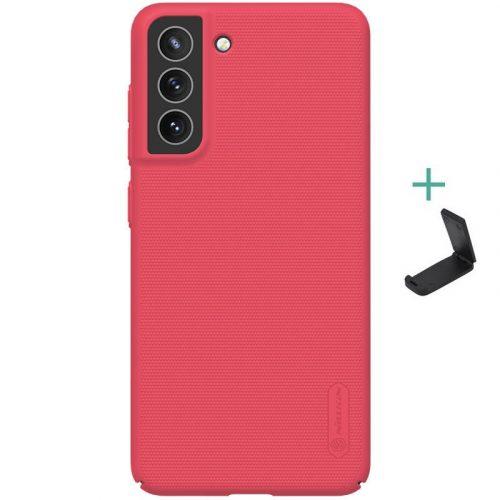Samsung Galaxy S21 FE 5G SM-G990, Műanyag hátlap védőtok, stand, Nillkin Super Frosted, piros