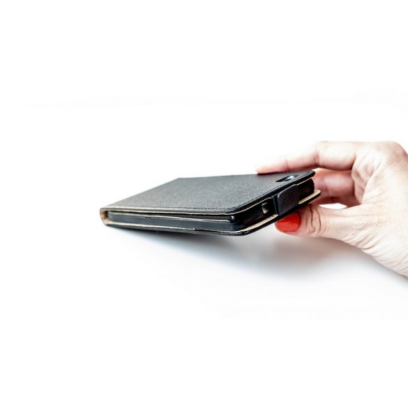 Nokia 9, Forcell lenyitható bőrtok, Slim Flexi, felfelé nyíló - kinyitható, fekete
