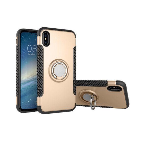 Apple iPhone X / XS, Műanyag hátlap védőtok, szilikon keret, telefontartó gyűrű, karbon minta, arany
