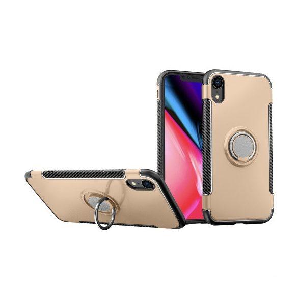 Apple iPhone XR, Műanyag hátlap védőtok, szilikon keret, telefontartó gyűrű, karbon minta, arany