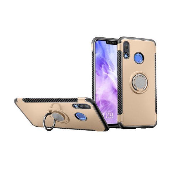 Huawei Nova 3, Műanyag hátlap védőtok, szilikon keret, telefontartó gyűrű, karbon minta, arany