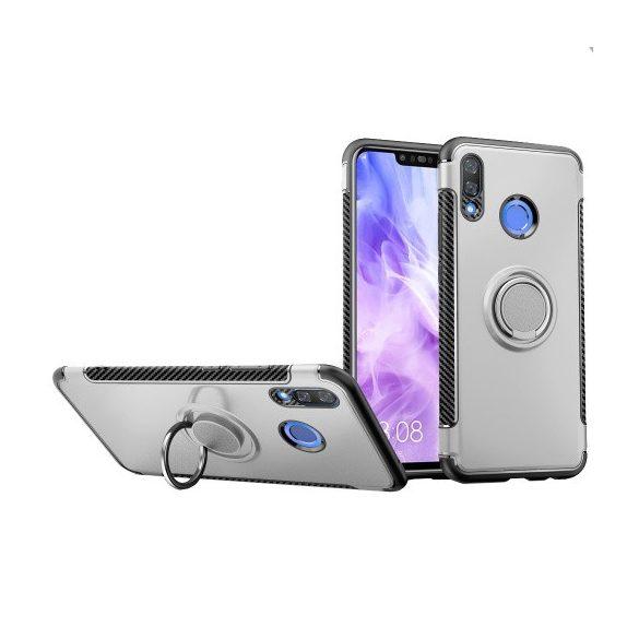 Huawei Nova 3, Műanyag hátlap védőtok, szilikon keret, telefontartó gyűrű, karbon minta, ezüst