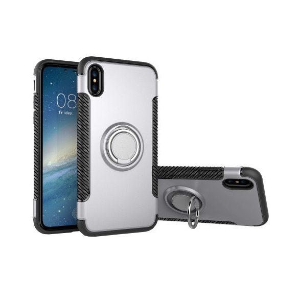 Apple iPhone X / XS, Műanyag hátlap védőtok, szilikon keret, telefontartó gyűrű, karbon minta, ezüst