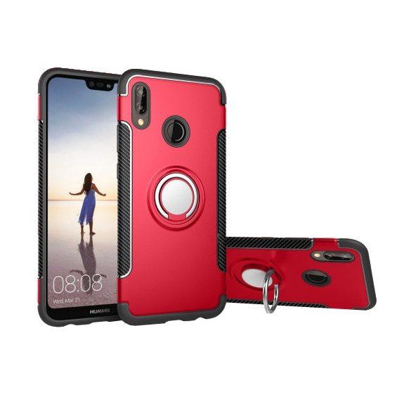 Huawei P20 Lite, Műanyag hátlap védőtok, szilikon keret, telefontartó gyűrű, karbon minta, piros
