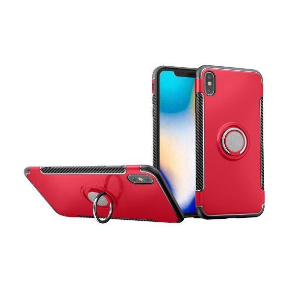Apple iPhone XS Max, Műanyag hátlap védőtok, szilikon keret, telefontartó gyűrű, karbon minta, piros