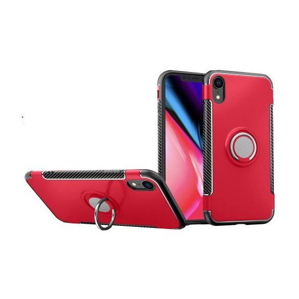Apple iPhone XR, Műanyag hátlap védőtok, szilikon keret, telefontartó gyűrű, karbon minta, piros