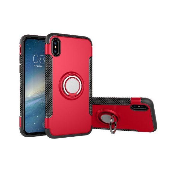 Apple iPhone X / XS, Műanyag hátlap védőtok, szilikon keret, telefontartó gyűrű, karbon minta, piros