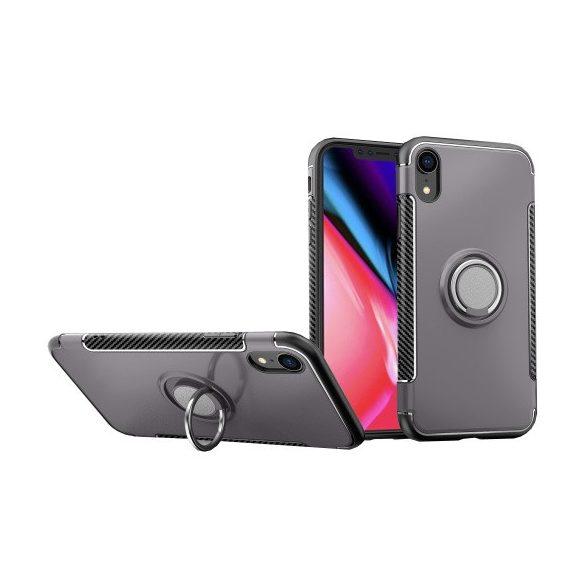 Apple iPhone XR, Műanyag hátlap védőtok, szilikon keret, telefontartó gyűrű, karbon minta, szürke