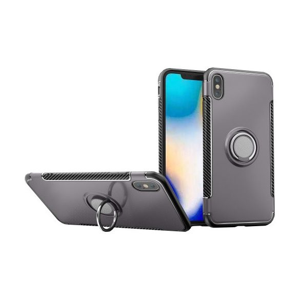 Apple iPhone XS Max, Műanyag hátlap védőtok, szilikon keret, telefontartó gyűrű, karbon minta, szürke