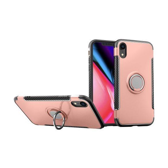 Apple iPhone XR, Műanyag hátlap védőtok, szilikon keret, telefontartó gyűrű, karbon minta, vörösarany