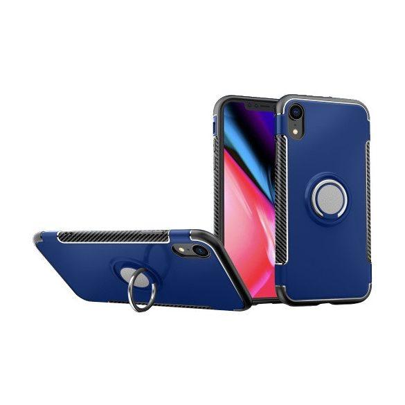 Apple iPhone XR, Műanyag hátlap védőtok, szilikon keret, telefontartó gyűrű, karbon minta, sötétkék