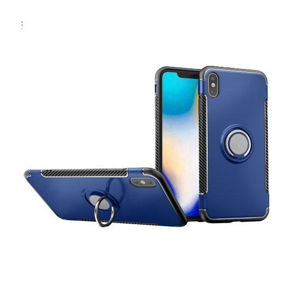 Apple iPhone XS Max, Műanyag hátlap védőtok, szilikon keret, telefontartó gyűrű, karbon minta, sötétkék