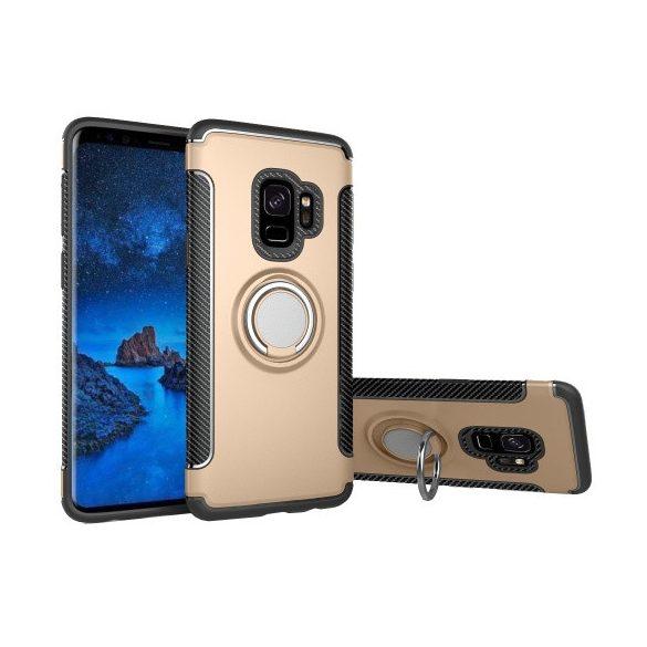 Samsung Galaxy S9 SM-G960, Műanyag hátlap védőtok, szilikon keret, telefontartó gyűrű, karbon minta, arany