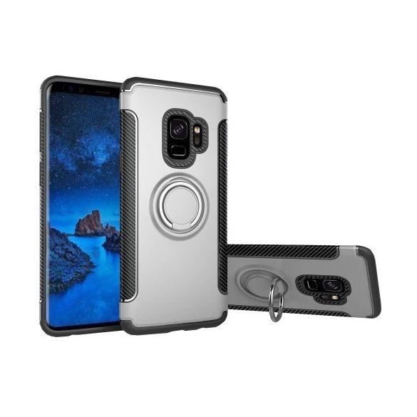 Samsung Galaxy S9 SM-G960, Műanyag hátlap védőtok, szilikon keret, telefontartó gyűrű, karbon minta, ezüst