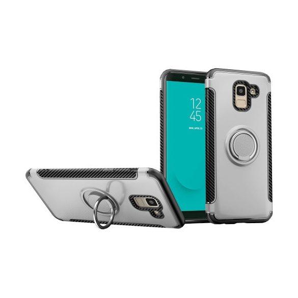 Samsung Galaxy J6 (2018) SM-J600F, Műanyag hátlap védőtok, szilikon keret, telefontartó gyűrű, karbon minta, ezüst